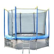 Пружинный батут на металлокаркасе - OPTIFIT LIKE 14FT BLUE, лестница, высокая сетка, фото 1